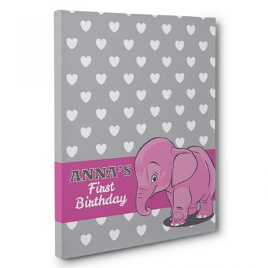 Custom Made Pink Elephant And Hearts Birthday Guestbook Canvas Wall Art