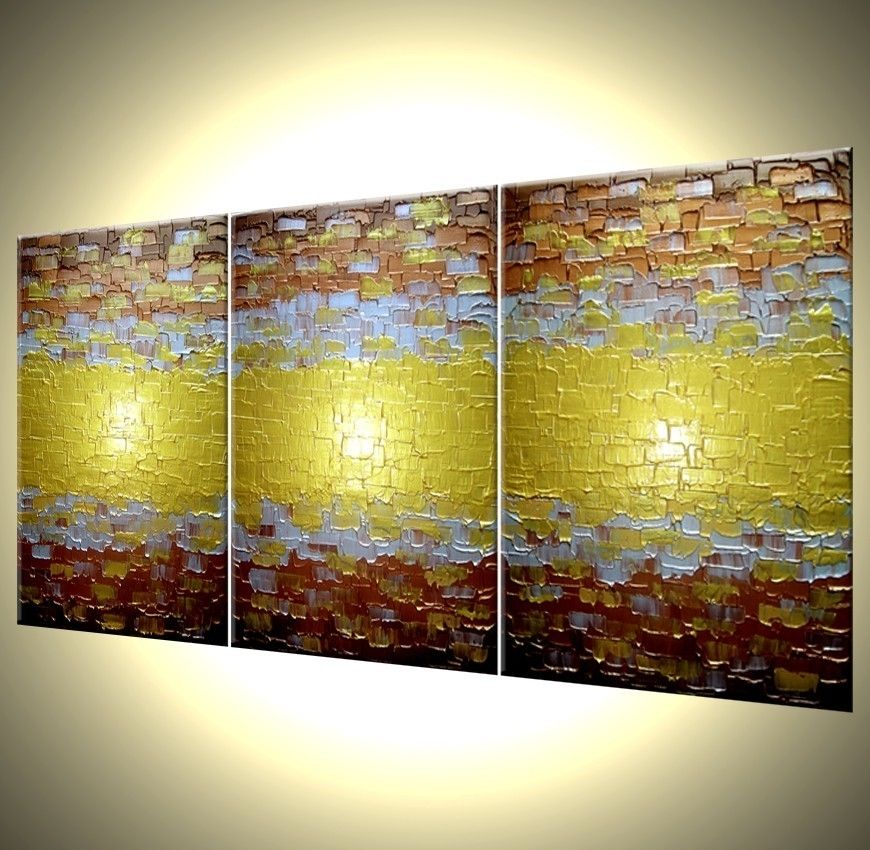 buy custom made abstract painting textured metallic art large gold