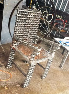 Custom Made Upcycled Custom Made Welded Industrial Chair Metal Chain Art