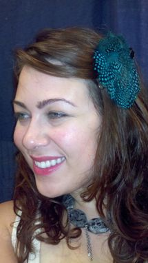 Custom Made Sale Turquoise And Black Spotted Feather Hair Fascinator