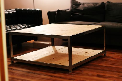 Custom Made Steel And Pine Coffee Table