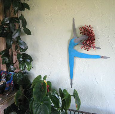 Custom Made Handmade Upcycled Metal Blonde Ballerina In Blue Wall Art Sculpture