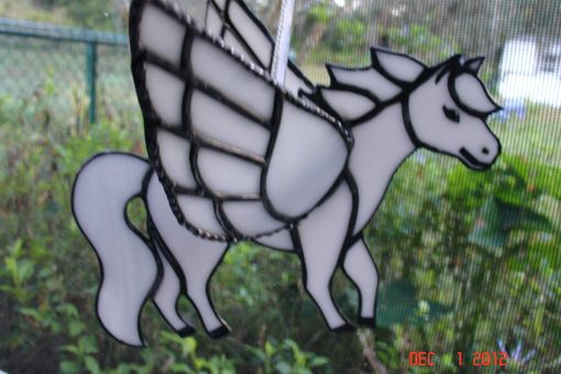 Custom Made 3d Stained Glass Flying Pegasus