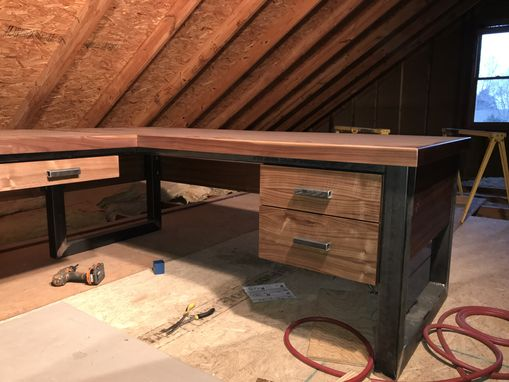 Custom Made Industrial Iron And Wood Office Desk And Conference Tables