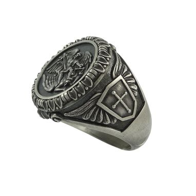 Custom Made St. Saint Michael Archangel Silver Mens Ring Handcrafted Us Sizes Army Military