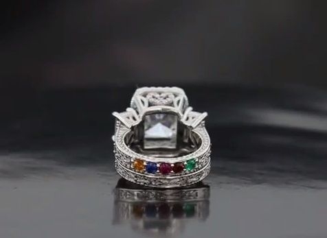 Custom Made Three Stone Radiant Halo Wedding Set