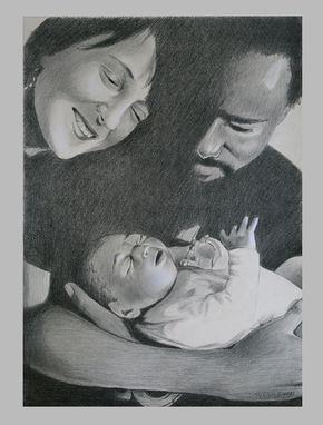Custom Made Fine Art Portrait-Sketch Of Family