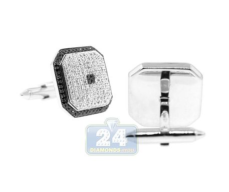 Custom Made 18k White Gold Mens 2.60 Ct Black White Diamond Cuff Links