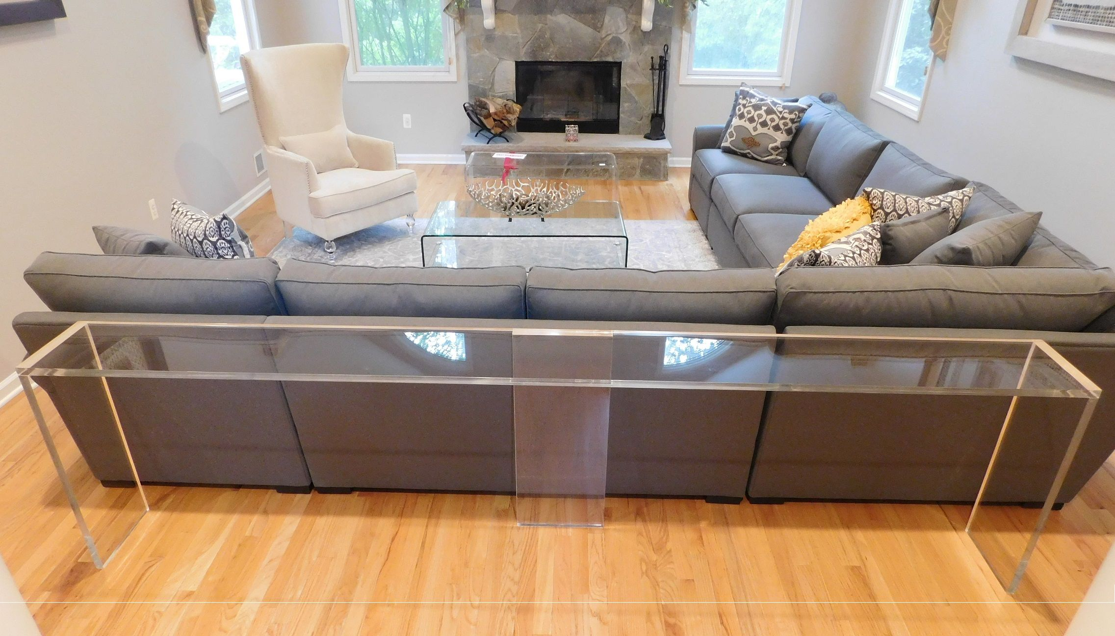 Custom Made Straight Edge Console Table In Color Or Clear From 3 4