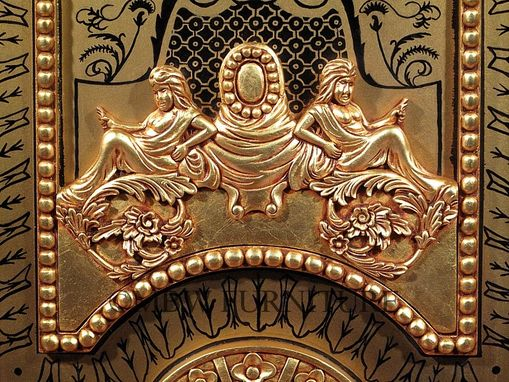 Custom Made Premium Mahogany Ornate Carved Rococo Cabinet (Ebony & Real Gold Leaf)