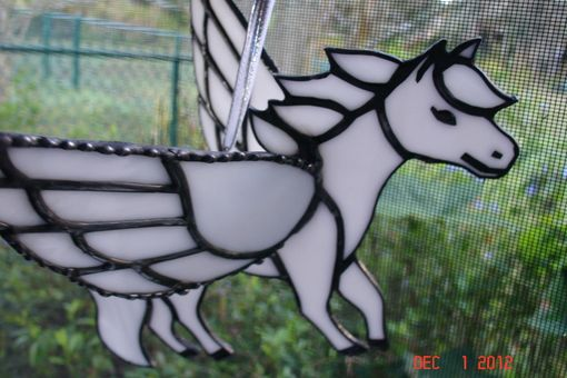Custom Made 3d Stained Glass Pegasus In