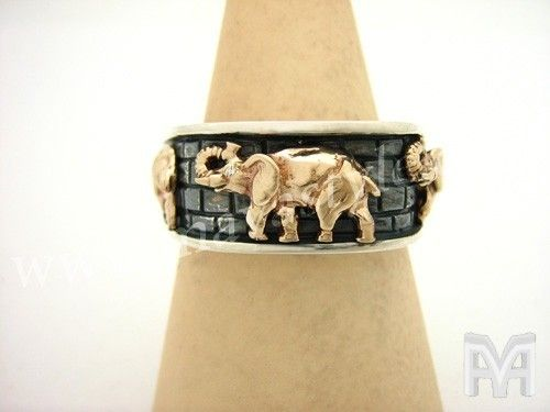 Custom Made Sterling Silver & Gold Elephant With Diamond Eyes Ring
