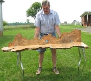 Custom Made Live Edge Red Maple Burl Console
