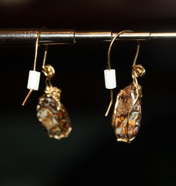 Custom Made 6.70ct Boulder Opals From Australia, Earrings With 14kt Rolled Gold Wire Wrap
