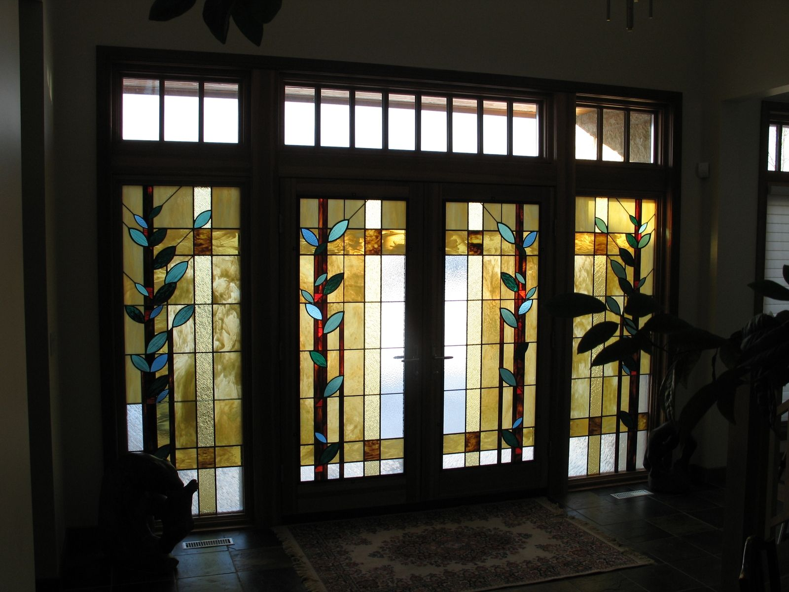 Hand Made Front Entrance Door Inserts By Prairie Studio Glass