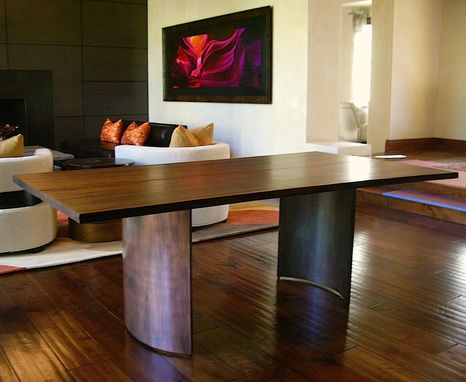 Custom Made Contemporary Wood And Steel Dining Table