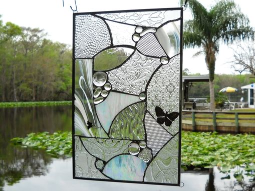 Custom Made Recycled Depression Glass Imperial Stained Glass Window Panel, Antique Stained Glass Transom Window