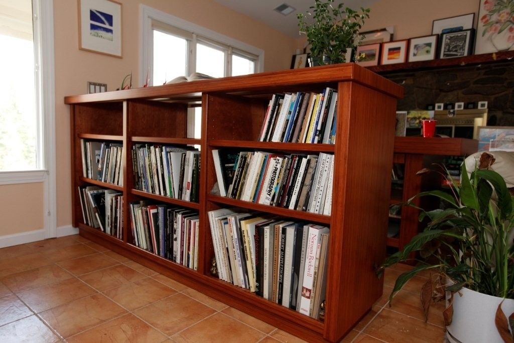 Custom Made Bamboo Layout Table And Two Sided Bookcase