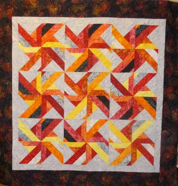 Custom Made Custom Made Red Pinwheel Batik Quilt