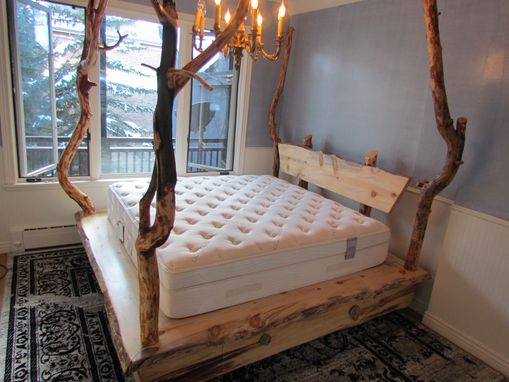 Custom Made Rocky Mountain Beetle Kill Pine Platfrom Bed With Drawers