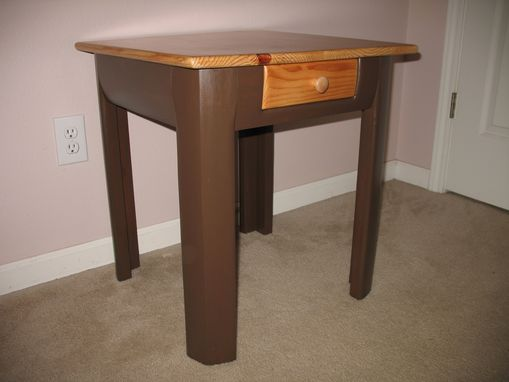 Custom Made Grizzly Bear Side Table With Natural Top