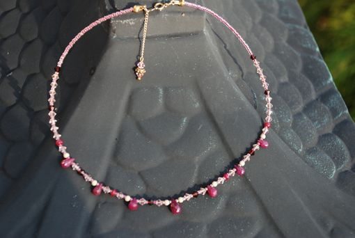Custom Made Ruby And Swarovski Crystal Choker