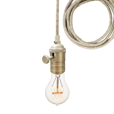 Custom Made Sweater Cloth Cord & Nickel Bare Bulb Pendant Light