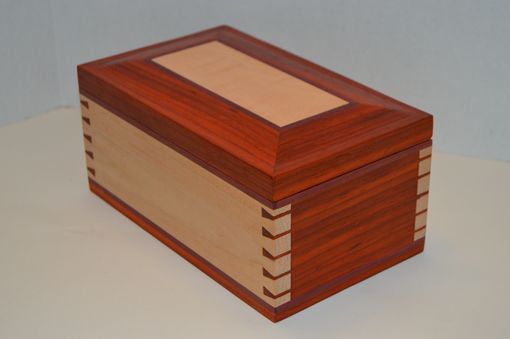 Custom Made High Figure Curly Maple And Paduak Music And Jewelry Box Lined With Purpleheart