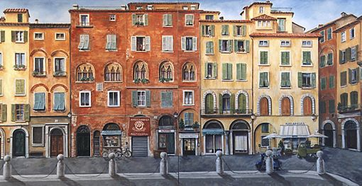 Custom Made Commissioned Painting - Italian Facade - Lucca, Italy
