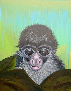 Custom Made Monkey Nursery Art Safari Zoo Animal. Jungle Theme Kids / Baby Room Decor (Painting Not A Print).