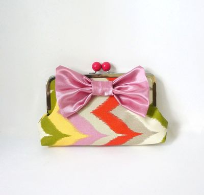 Custom Made Zigzag Clutch Purse With Big Bow Accent