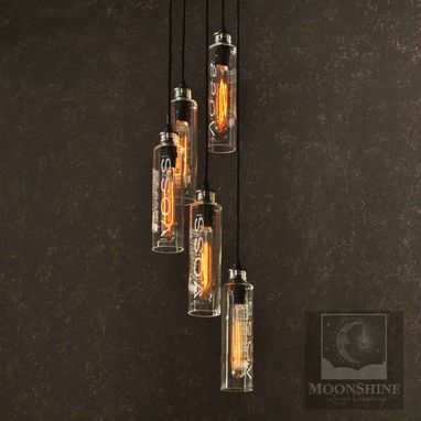 Custom Made Voss Bottle Pendant Chandelier Light