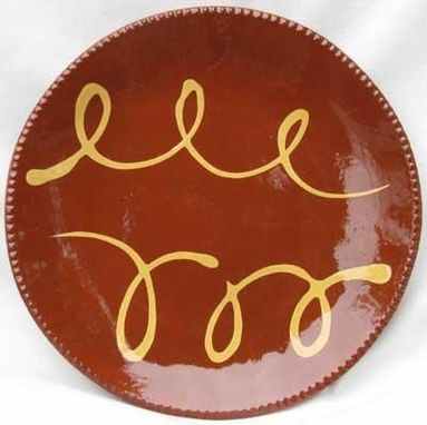 Custom Made Slipware Ceramics, Red With White Swirling Lines