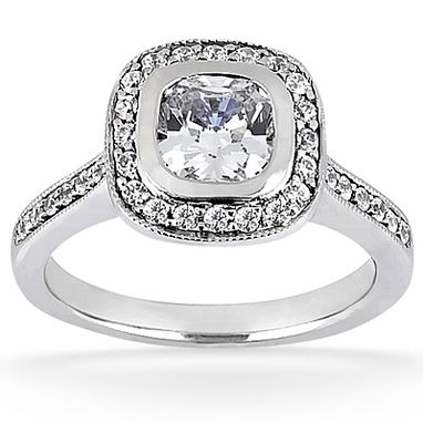 Custom Made 14 Kt White Gold Halo Diamond Engagement Ring
