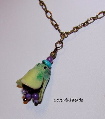 Custom Made Torch Fired Glass Enameled Pendant / Antique Bronze Chain