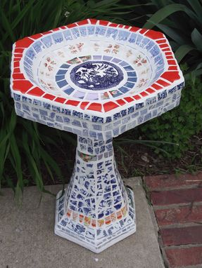 Custom Made Full Size Mosaic Birdbath