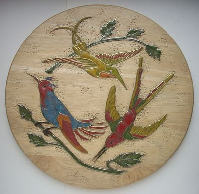 Custom Made Wooden Decorative Panel <Hummingbirds>