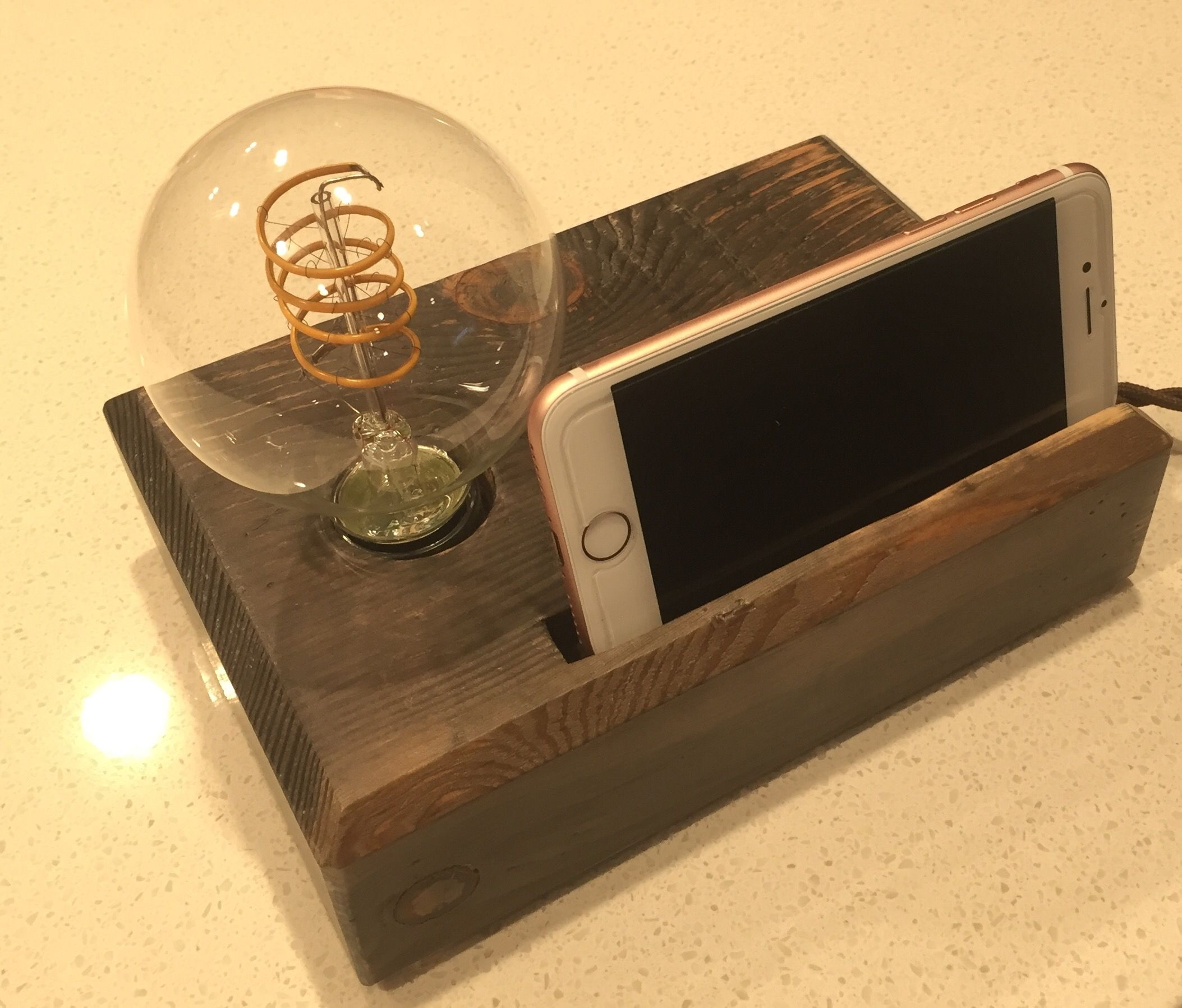 Custom Made Desk Lamp Rustic Handmade Gift Organizer Phone