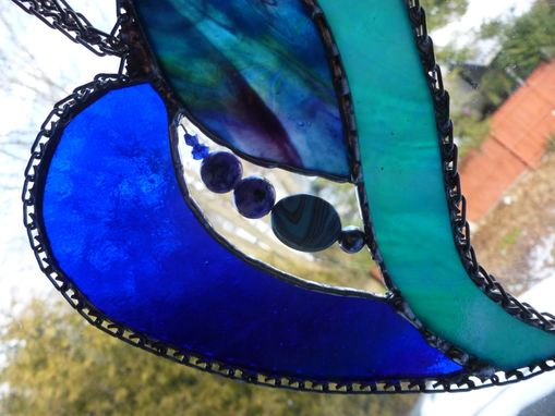 Custom Made Blue, Purple, And Teal Stained Glass Heart With Beads And Crystals