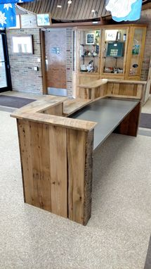 Hand Crafted Reclaimed Wood And Steel Reception Desk By Re