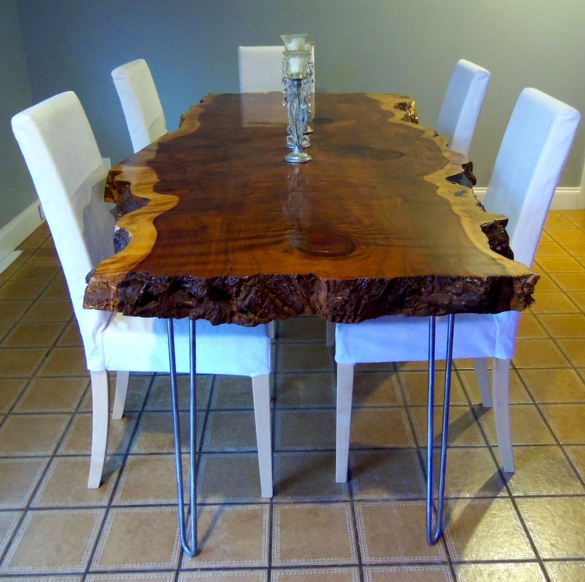 hand crafted live edge redwood kitchen tableozma design