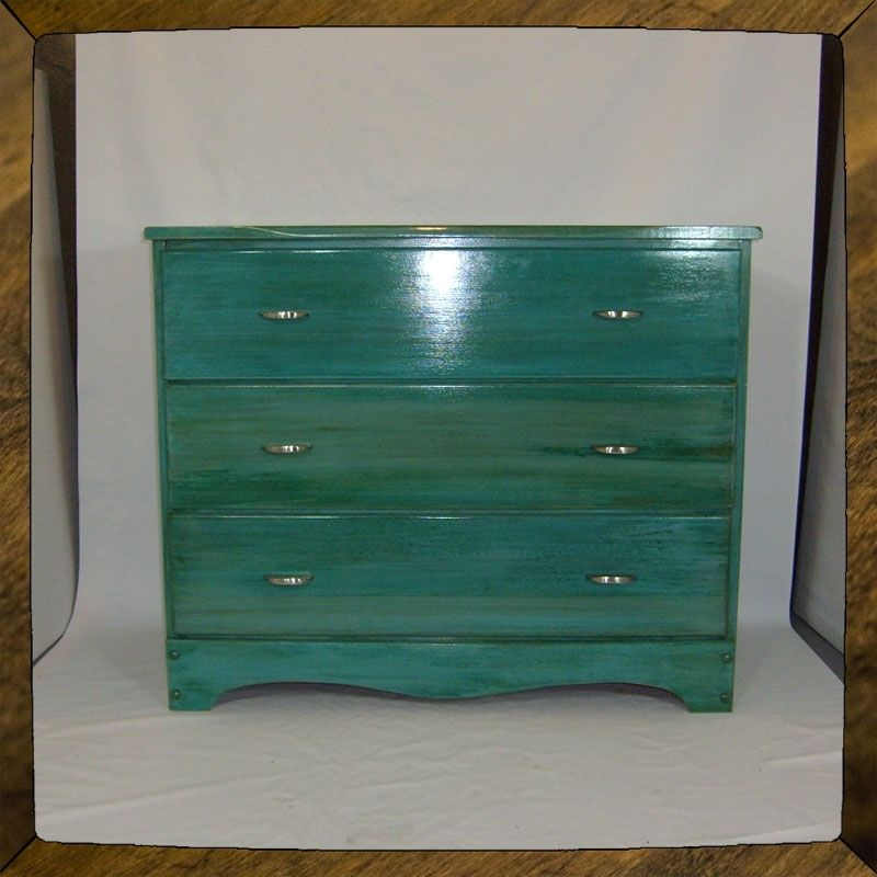 Hand Crafted Turquoise Dresser Furniture Custom Quot Blue
