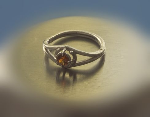 Custom Made Sterling Silver And Fire Citrine Ring - Size 4 Us