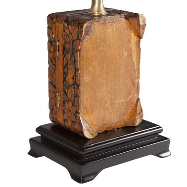 Custom Made Vintage Carved Wood Box Lamp