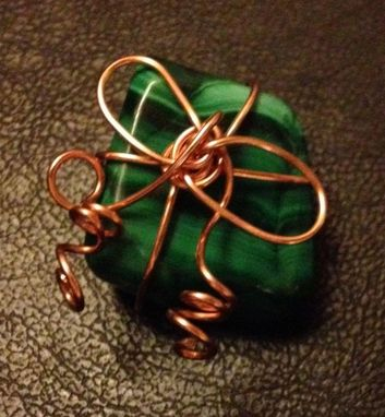 Custom Made Pendant In Copper Wire And Gemstone