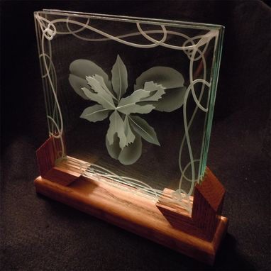 Custom Made 3d Layered Decorative Art Display - Iris Flower Etched Glass With Wood Stand