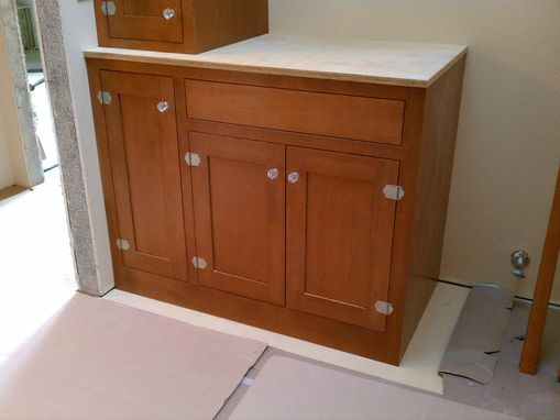 Custom Made Douglas Fir Bath Cabinets