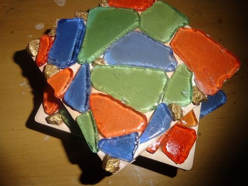 Custom Made Sea Glass Coasters On Beige Art Tile