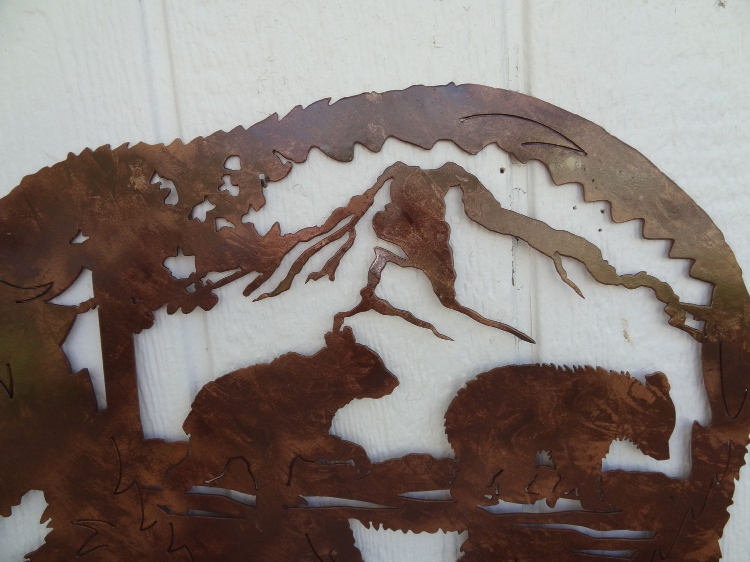 Buy A Custom Made Bear Mountain Scene With Bear Cub Metal