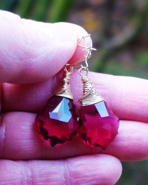 Custom Made Ruby Baroque Swarovski Crystal Earrings On Gold-Filled Earwires